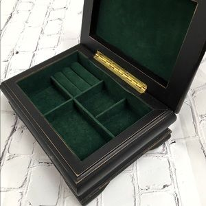 Vintage Wooden Jewelry Box Green Velvet Interior